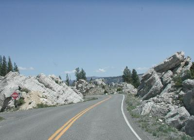 Yellowstone National Park road south of Mammoth Hot Springs
