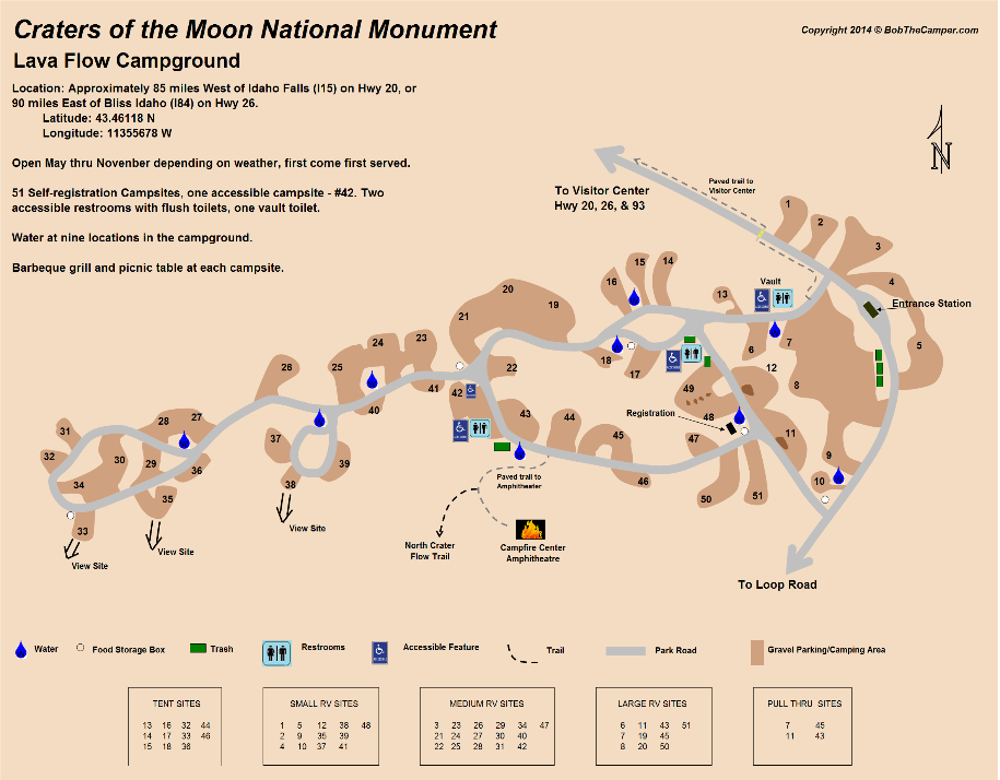 Craters of the Moon National Monument - Campground Map