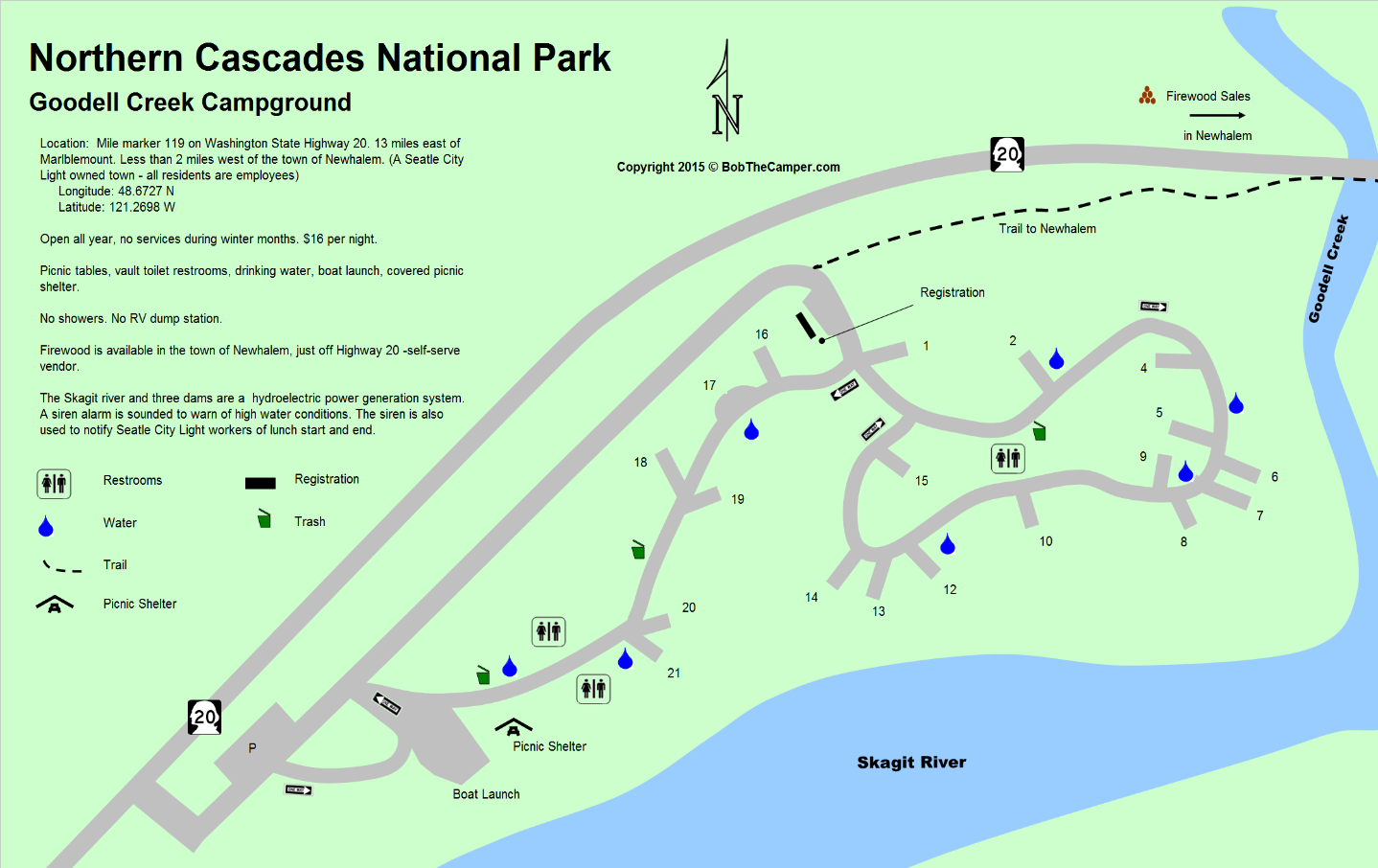North Cascades National Park Goodell Creek Campground Map